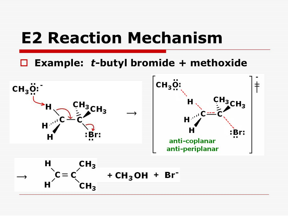 E2 Reaction Mechanism Example: t-butyl bromide + methoxide