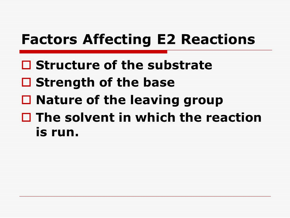Factors Affecting E2 Reactions