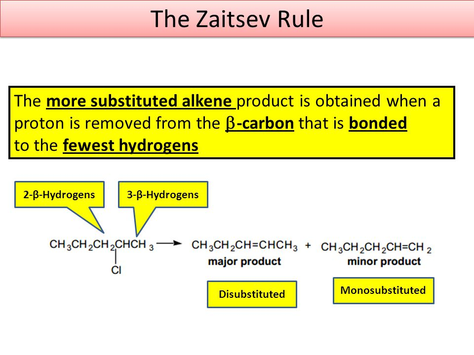 The Zaitsev Rule The more substituted alkene product is obtained when a. proton is removed from the b-carbon that is bonded.