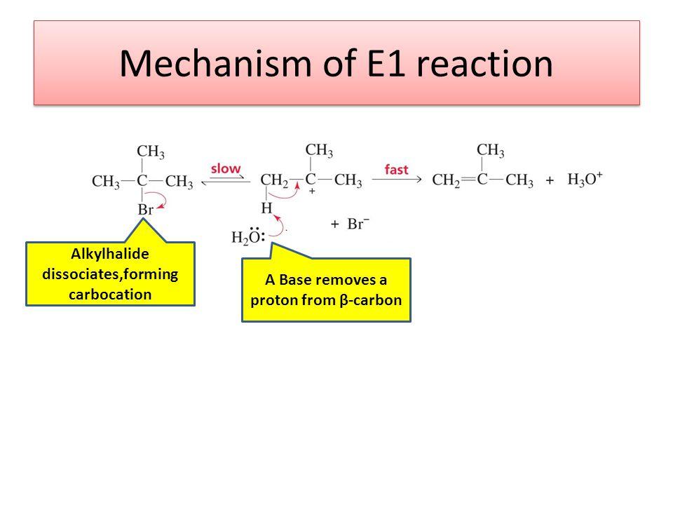 Mechanism of E1 reaction