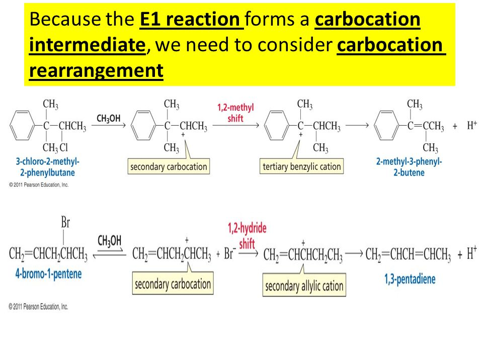 Because the E1 reaction forms a carbocation