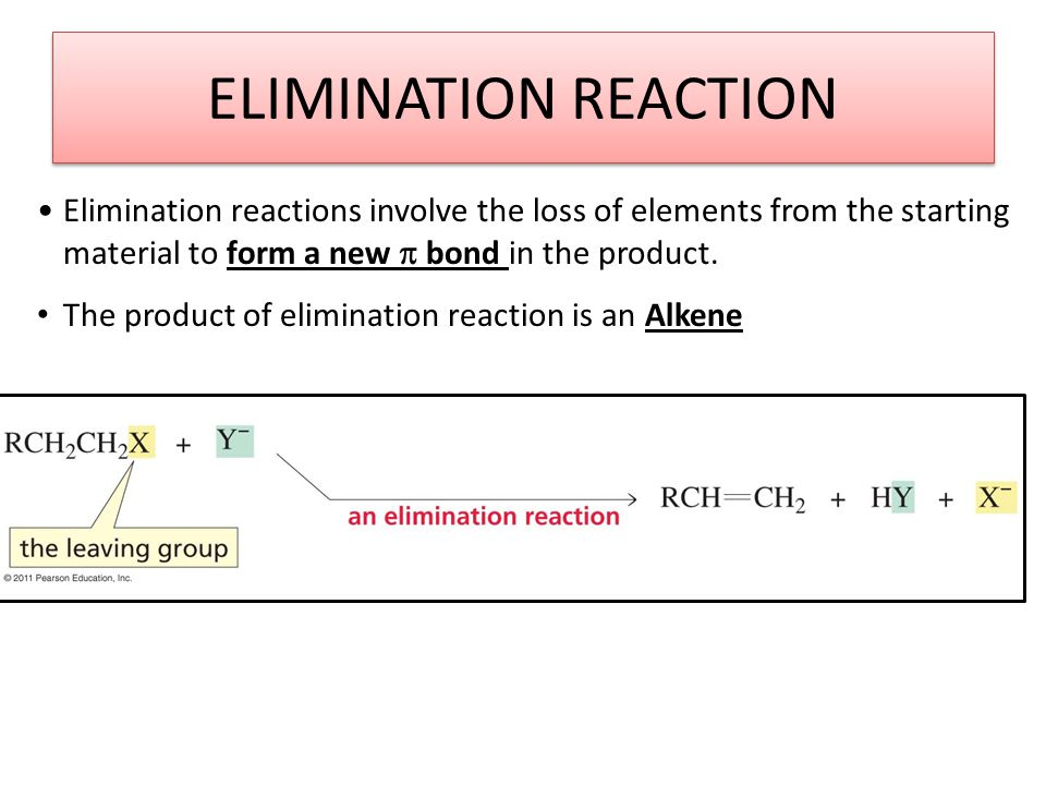 ELIMINATION REACTION Elimination reactions involve the loss of elements from the starting material to form a new  bond in the product.
