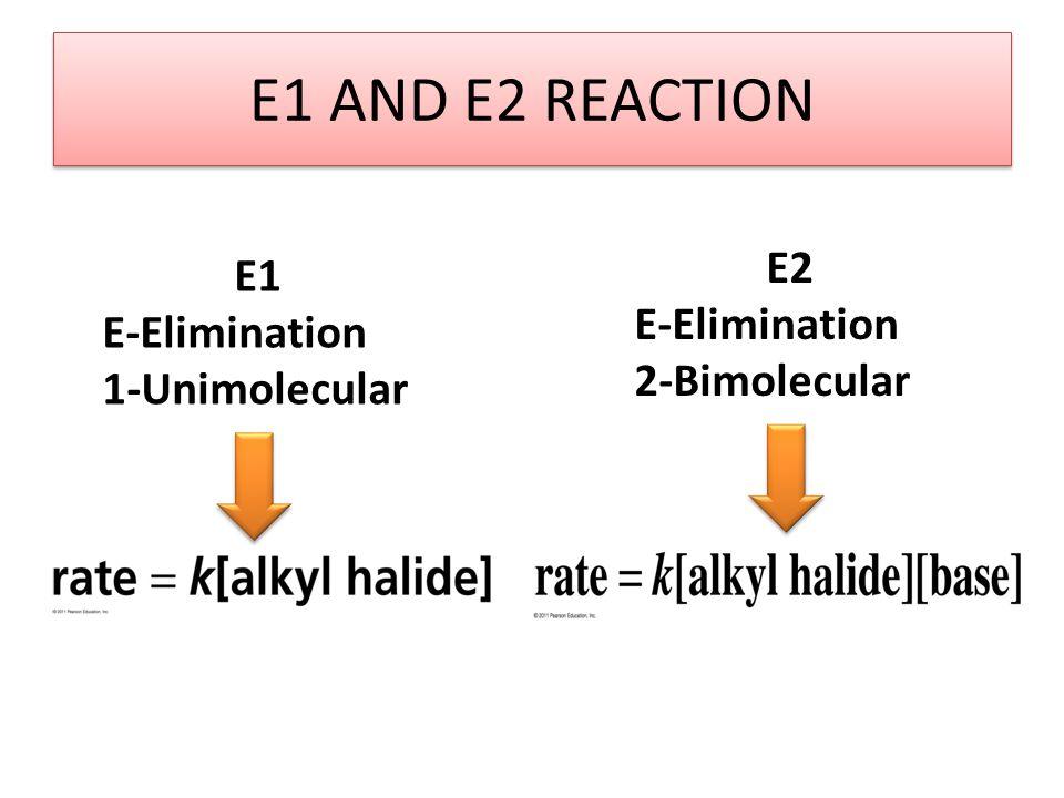 E1 AND E2 REACTION E2 E1 E-Elimination E-Elimination 2-Bimolecular
