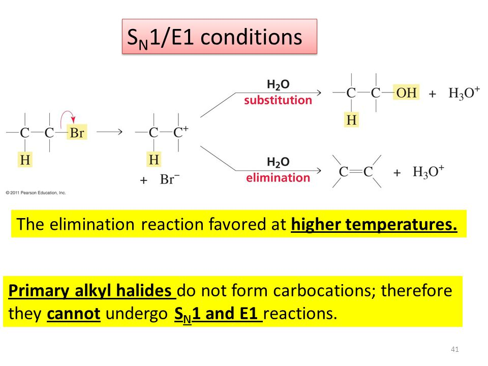 SN1/E1 conditions The elimination reaction favored at higher temperatures. Primary alkyl halides do not form carbocations; therefore.
