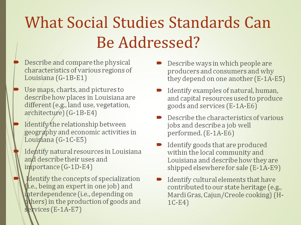What Social Studies Standards Can Be Addressed