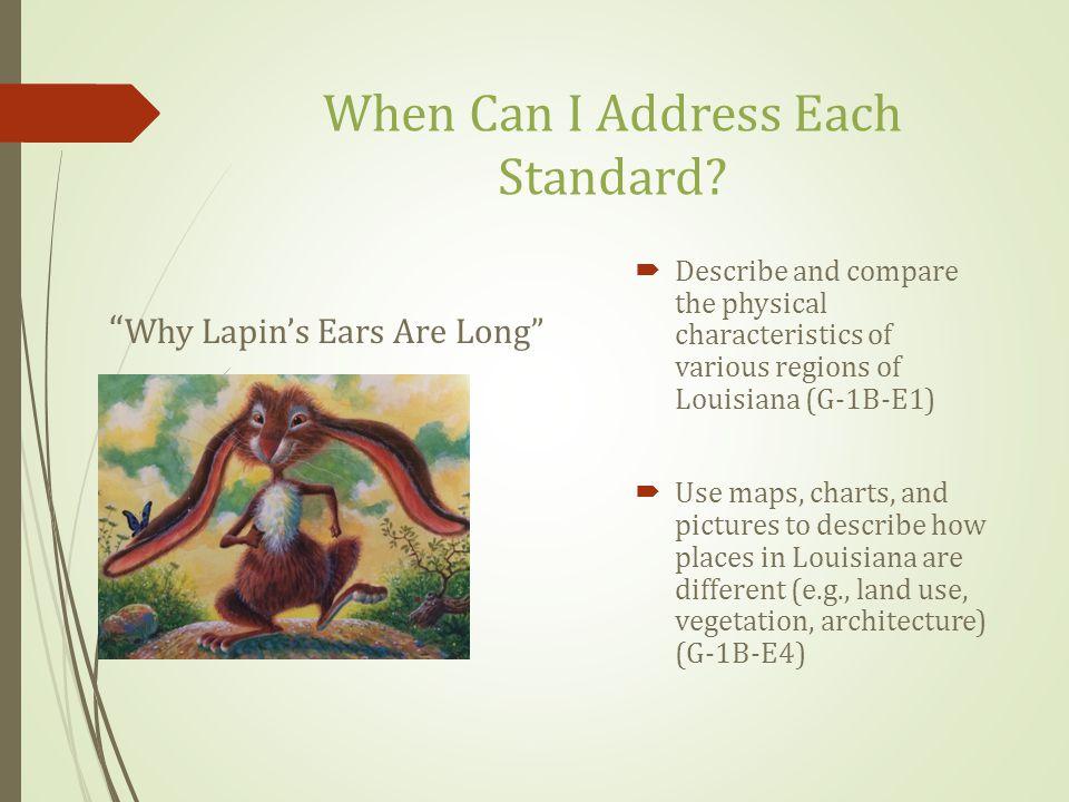 When Can I Address Each Standard