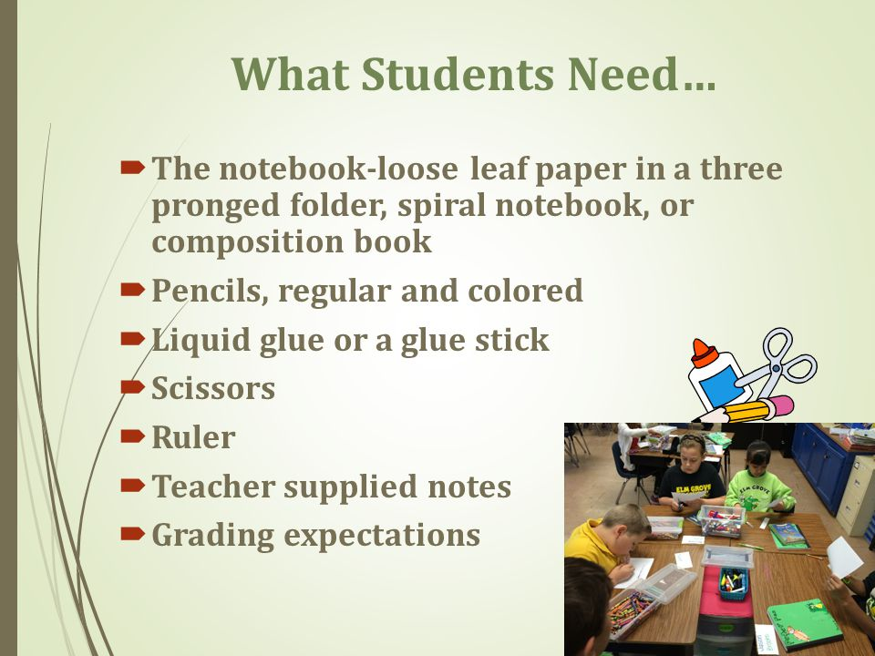 What Students Need… The notebook-loose leaf paper in a three pronged folder, spiral notebook, or composition book.