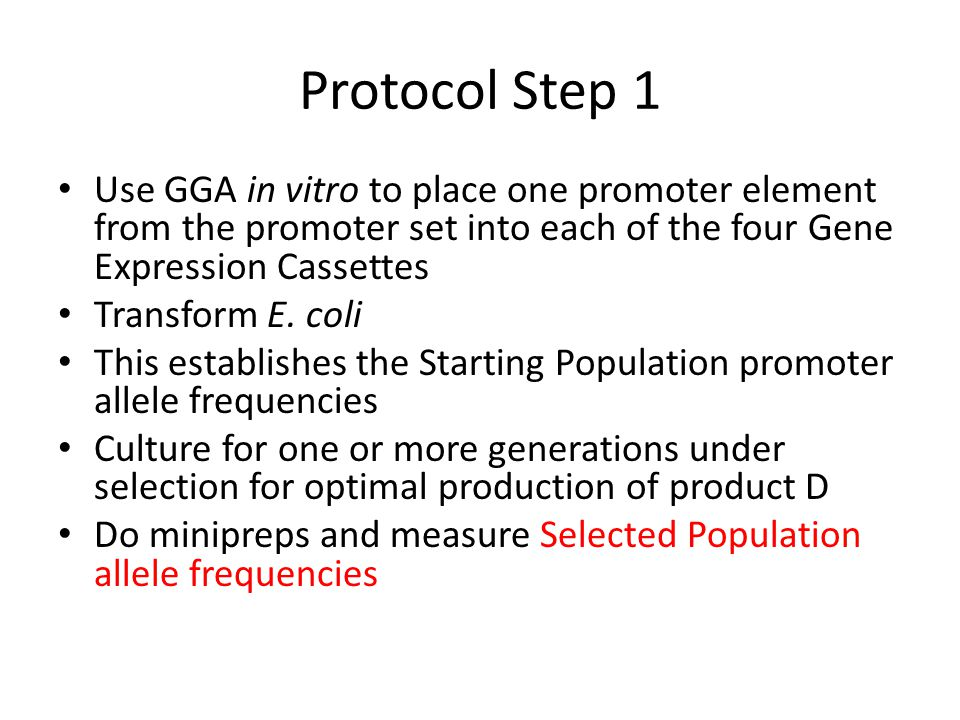 Protocol Step 1 Use GGA in vitro to place one promoter element from the promoter set into each of the four Gene Expression Cassettes.