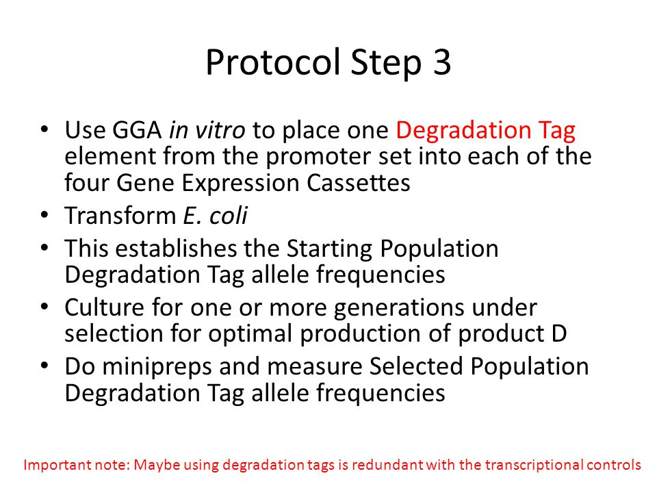 Protocol Step 3 Use GGA in vitro to place one Degradation Tag element from the promoter set into each of the four Gene Expression Cassettes.