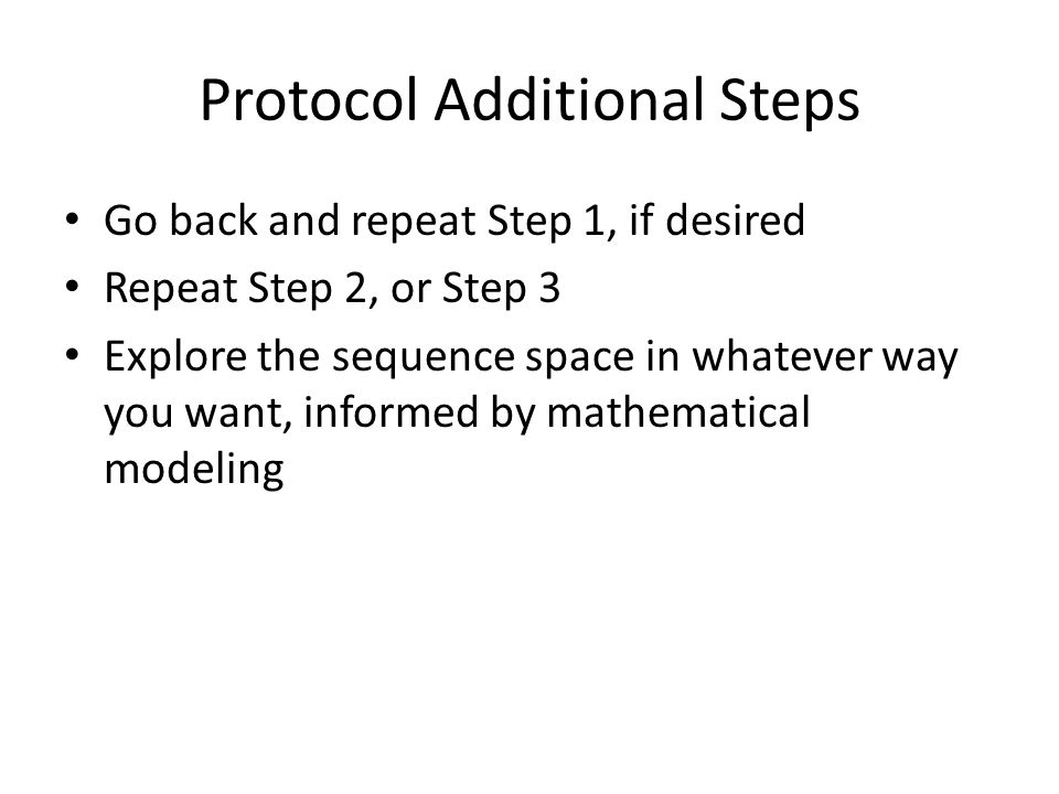 Protocol Additional Steps