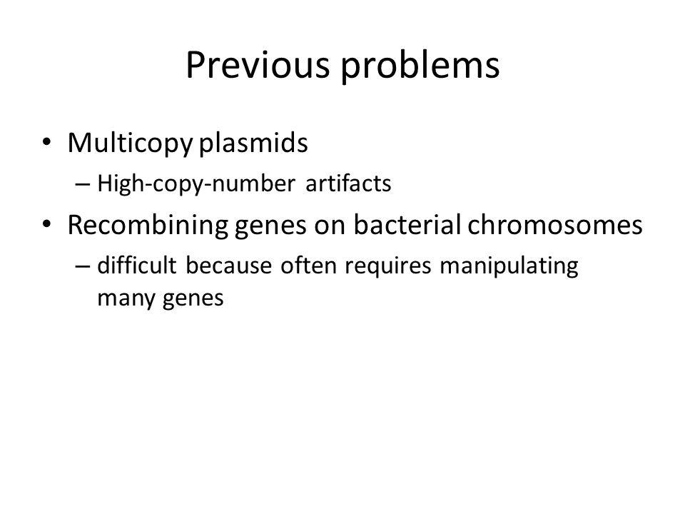 Previous problems Multicopy plasmids