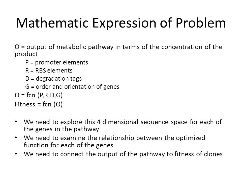 Mathematic Expression of Problem