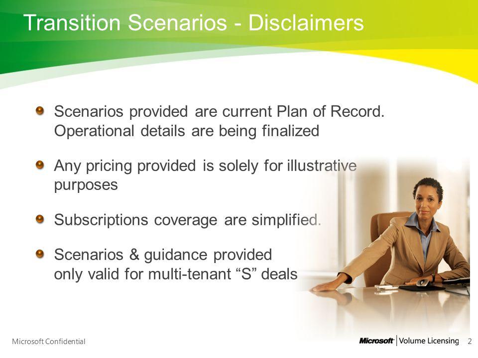 Transition Scenarios - Disclaimers