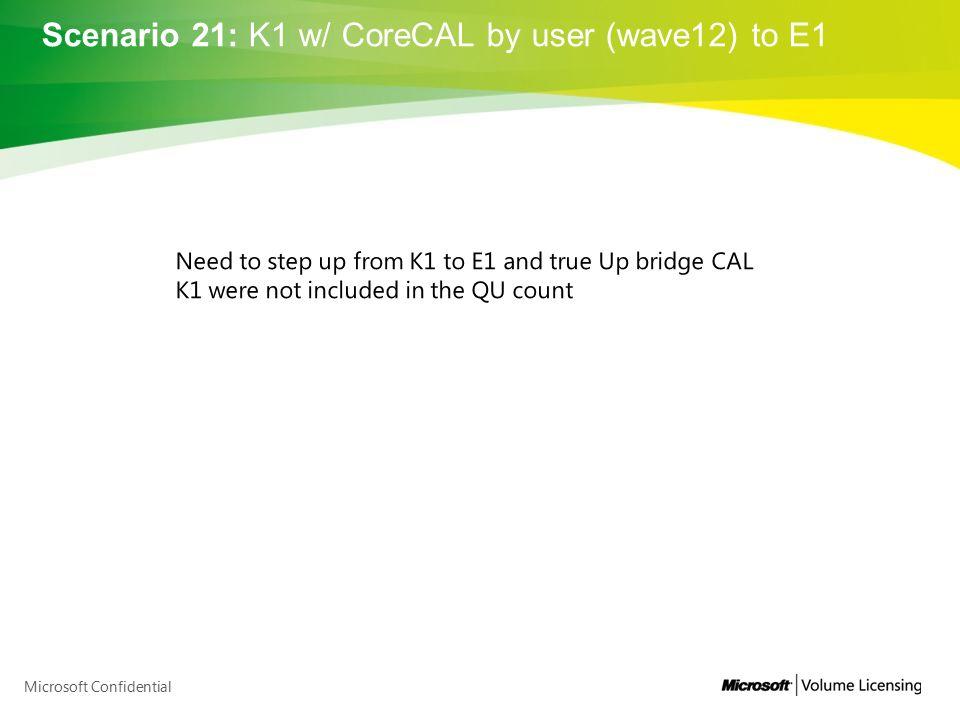 Scenario 21: K1 w/ CoreCAL by user (wave12) to E1