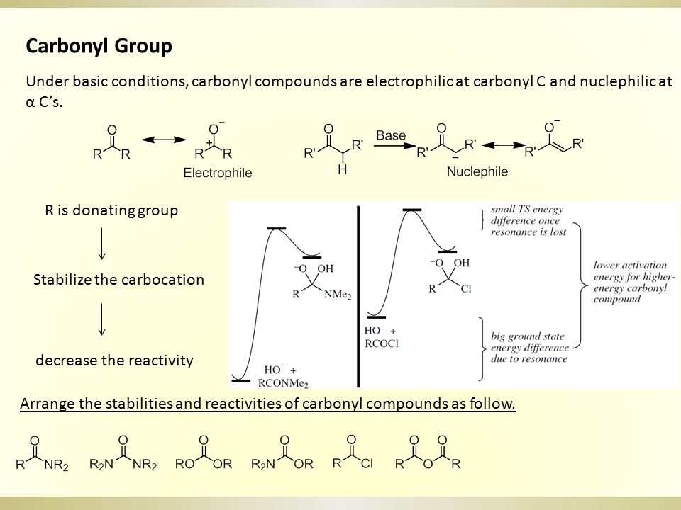 Carbonyl Group Under basic conditions, carbonyl compounds are electrophilic at carbonyl C and nuclephilic at α C's.