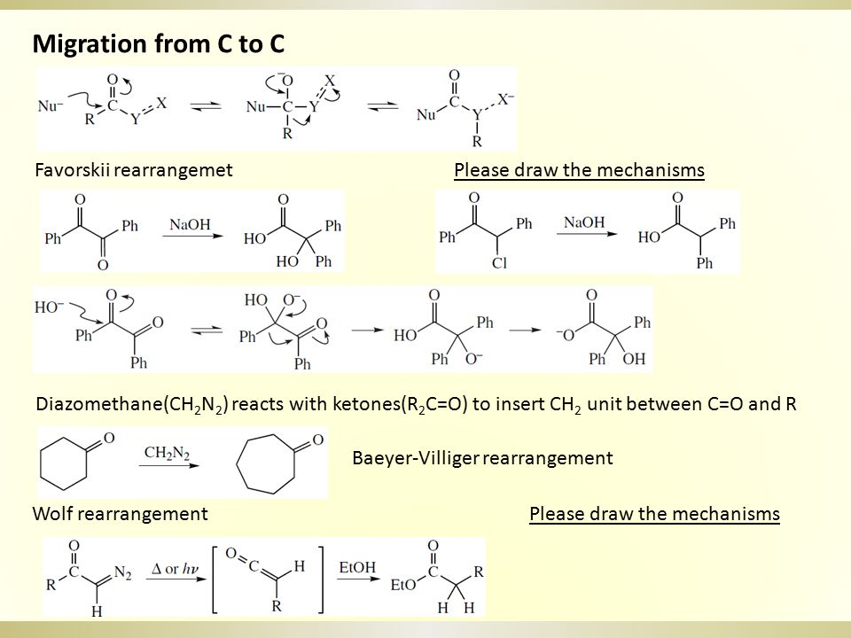 Migration from C to C Favorskii rearrangemet