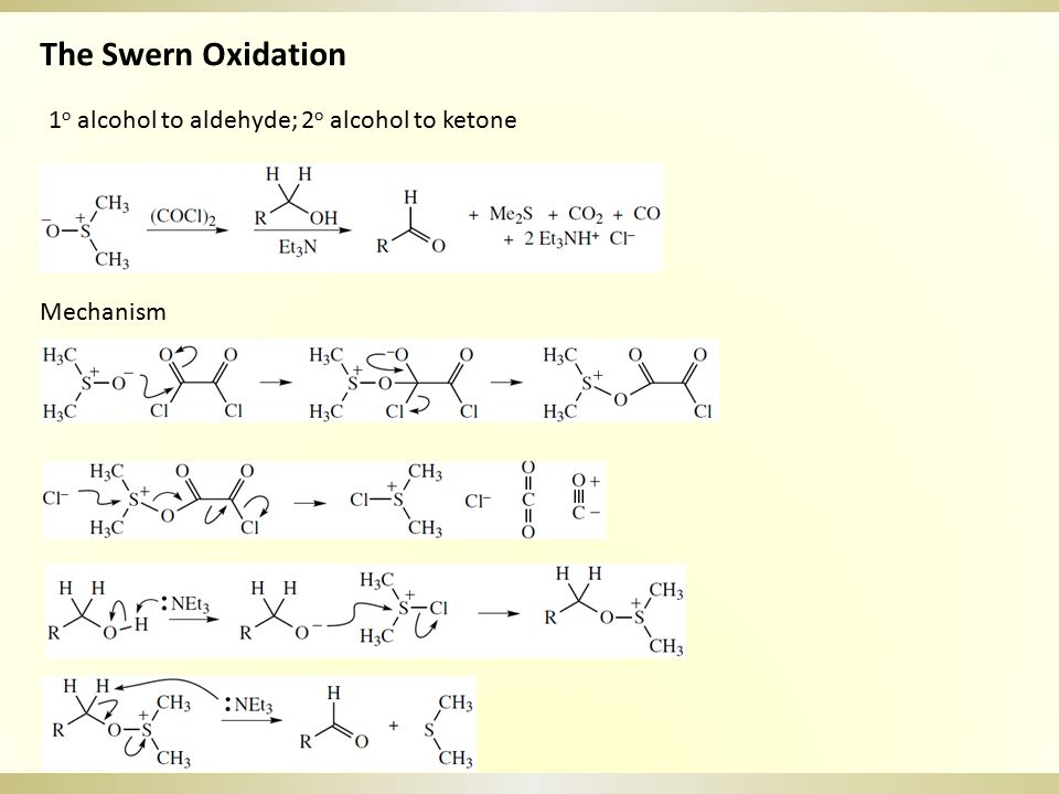 The Swern Oxidation 1o alcohol to aldehyde; 2o alcohol to ketone