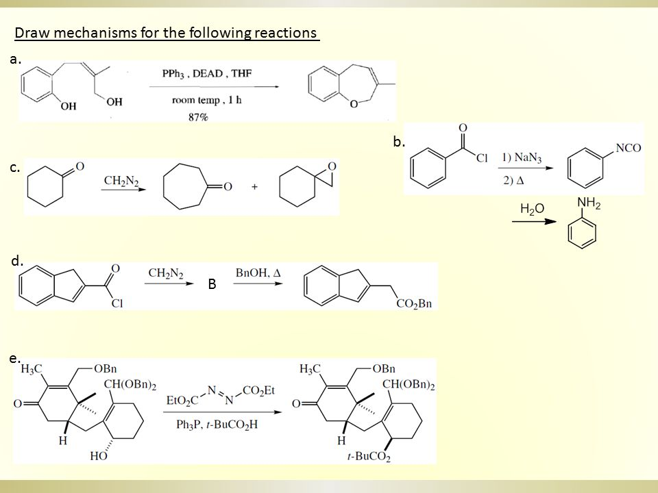Draw mechanisms for the following reactions