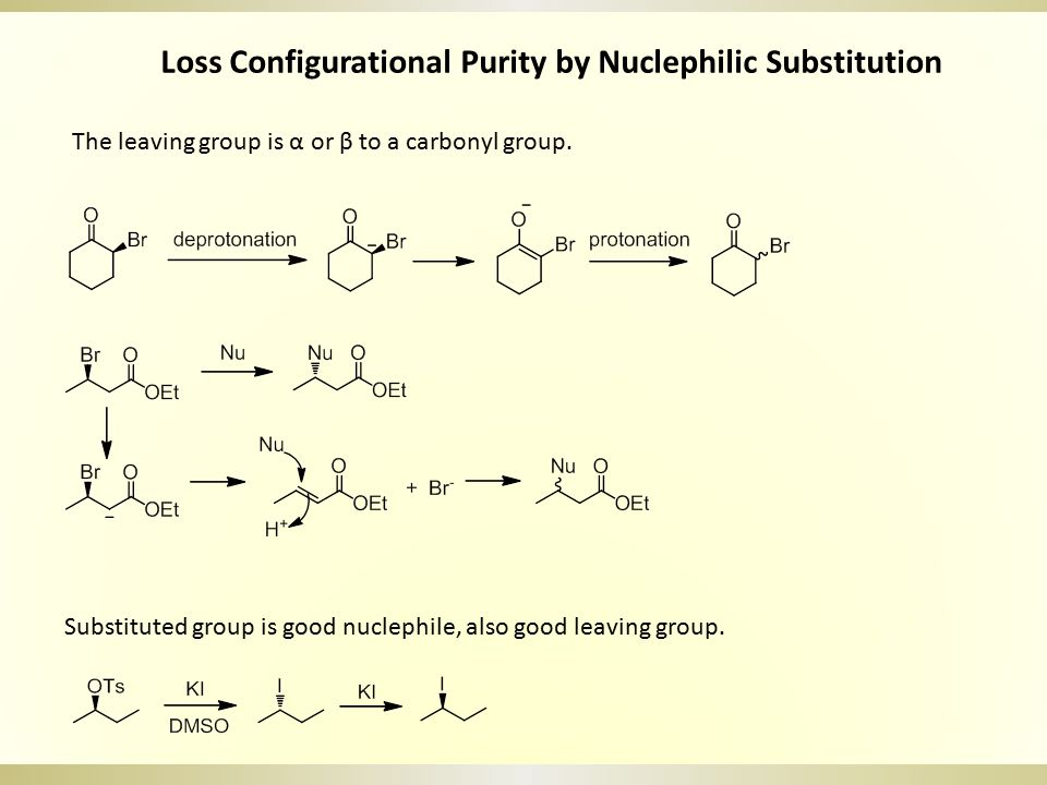 Loss Configurational Purity by Nuclephilic Substitution