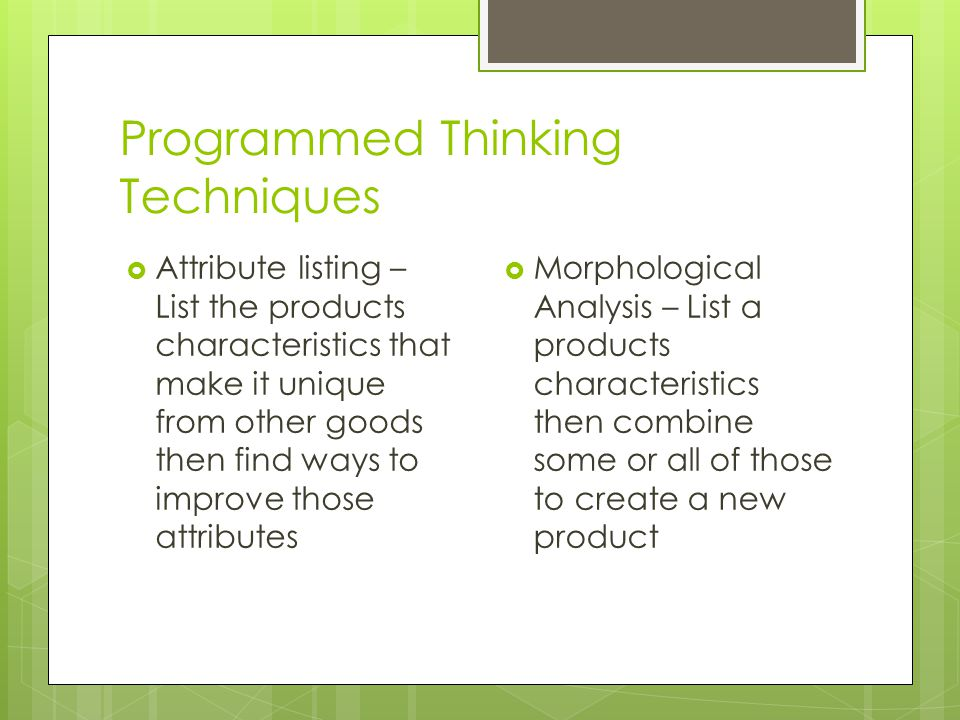 Programmed Thinking Techniques
