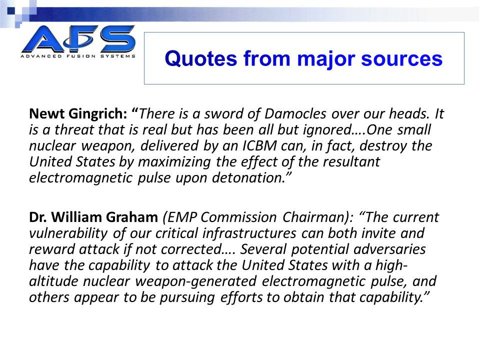 Quotes from major sources