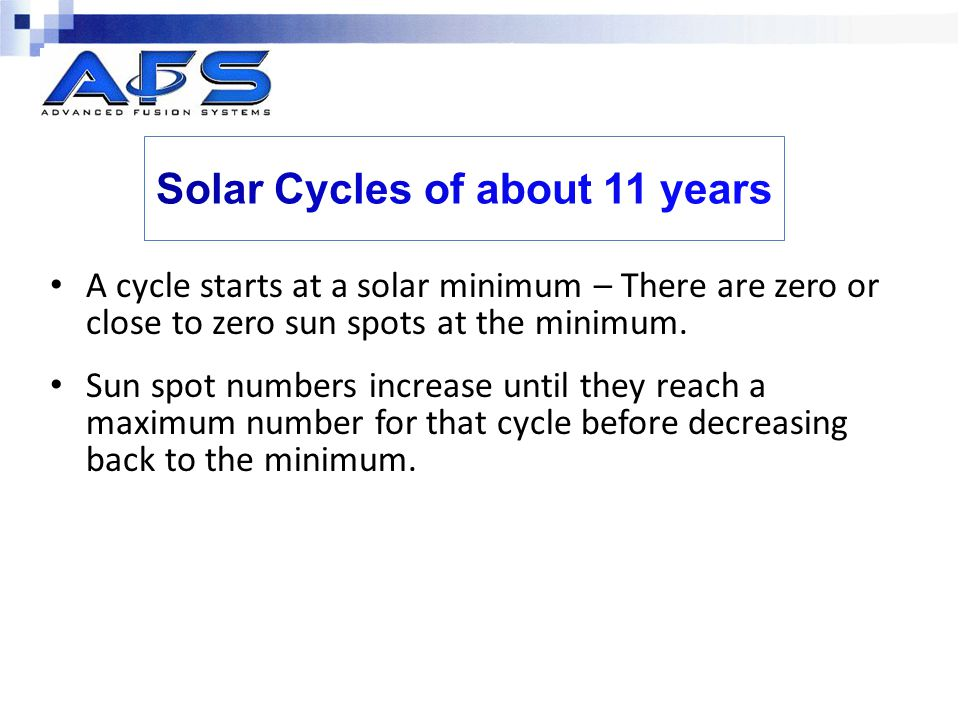 Solar Cycles of about 11 years