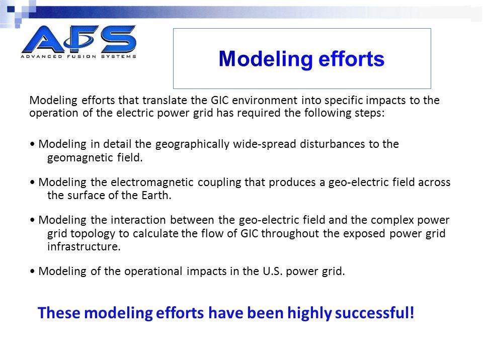 Modeling efforts