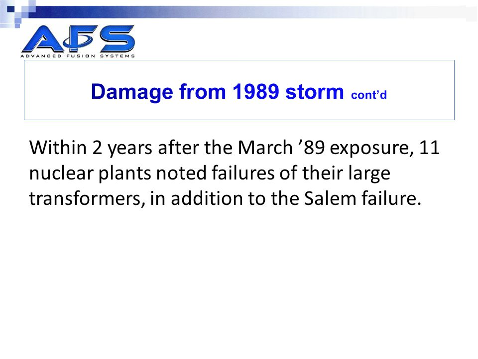 Damage from 1989 storm cont'd