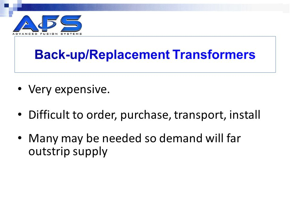 Back-up/Replacement Transformers