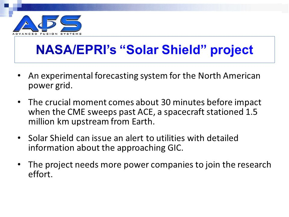 NASA/EPRI's Solar Shield project