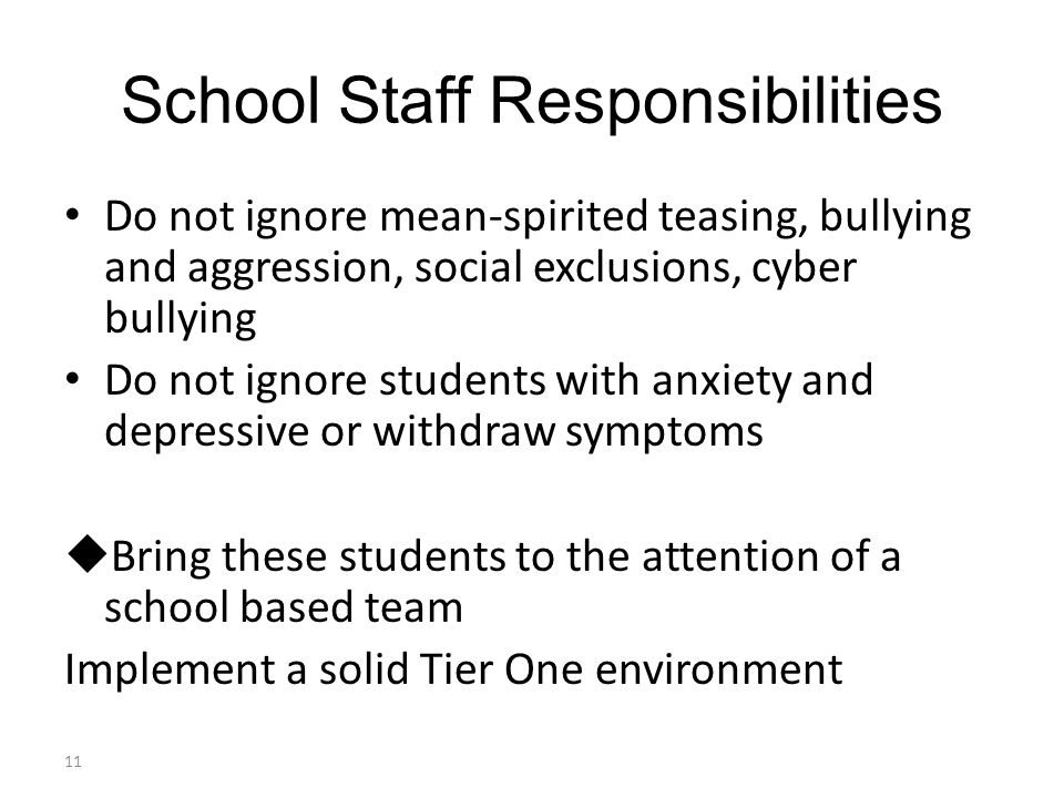 School Staff Responsibilities