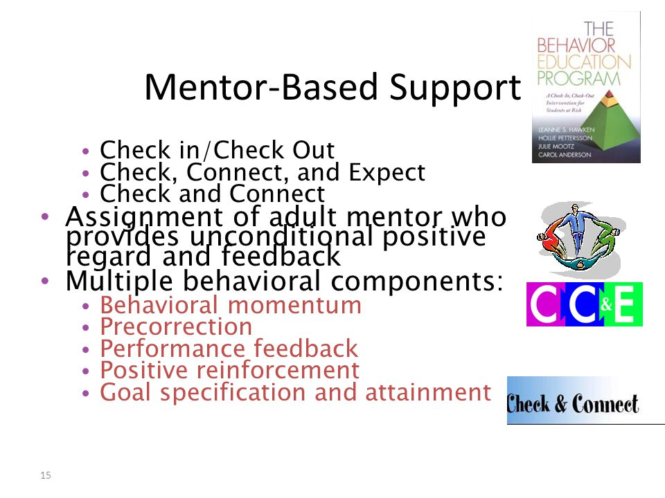 Mentor-Based Support Check in/Check Out. Check, Connect, and Expect. Check and Connect.