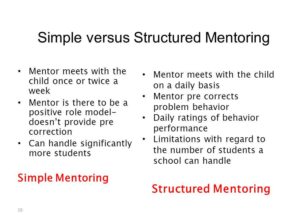 Simple versus Structured Mentoring