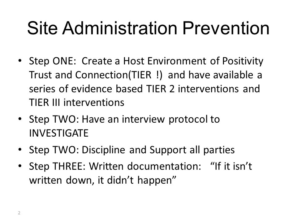 Site Administration Prevention