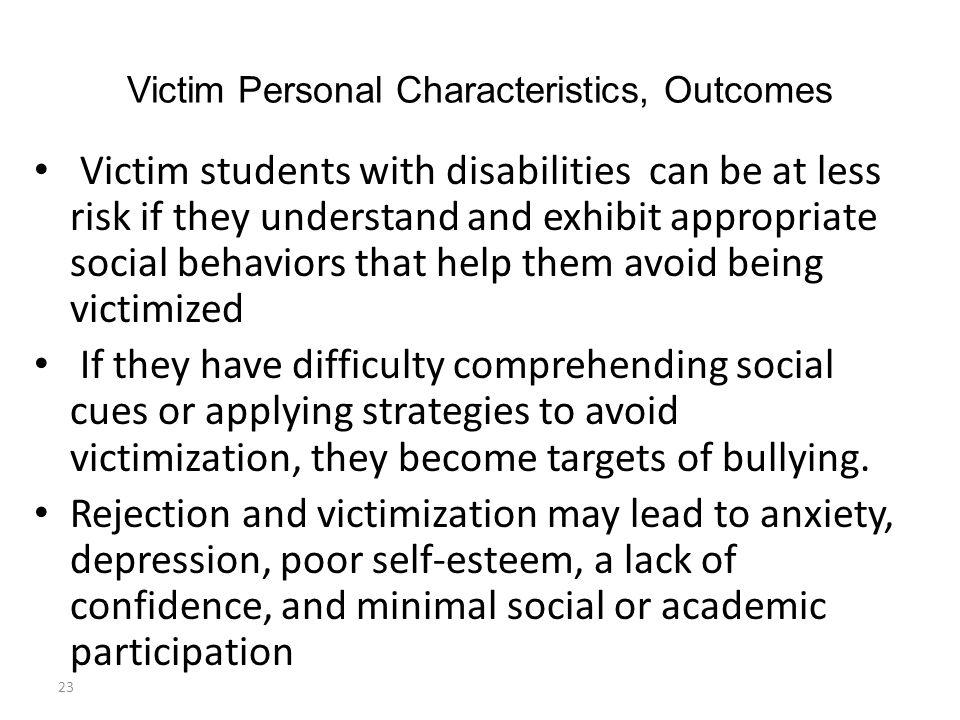 Victim Personal Characteristics, Outcomes