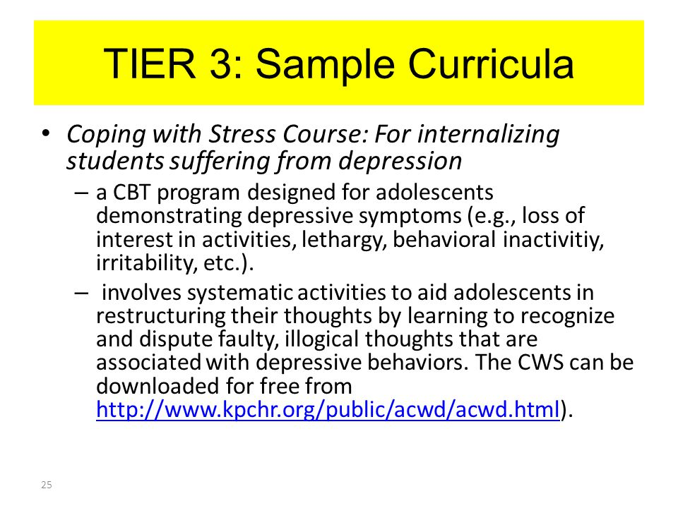 TIER 3: Sample Curricula