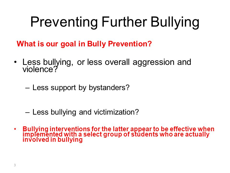 Preventing Further Bullying