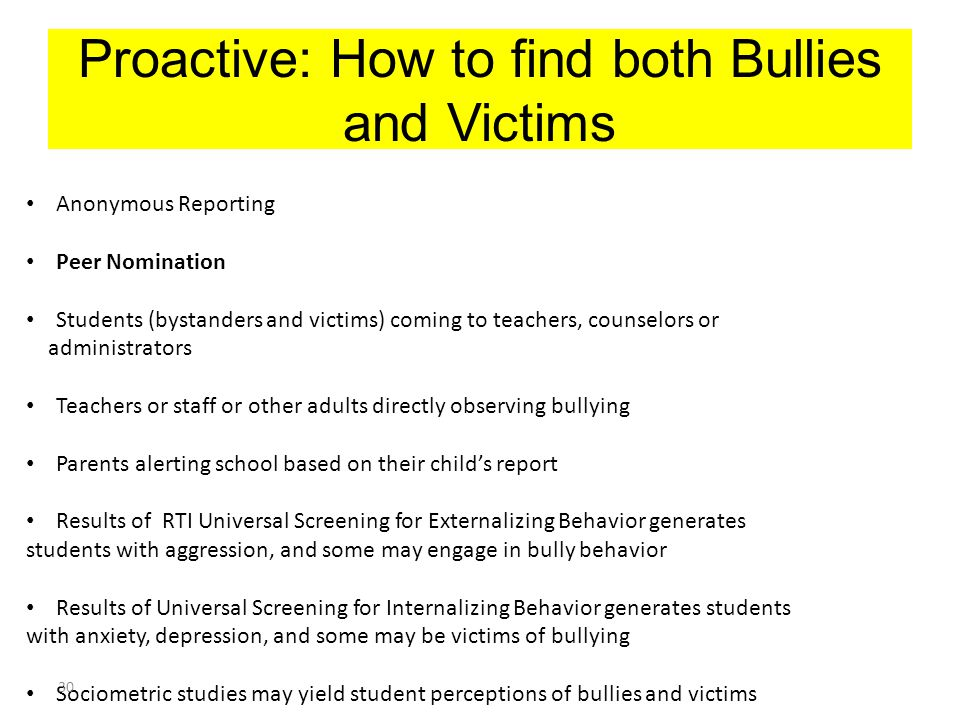 Proactive: How to find both Bullies and Victims