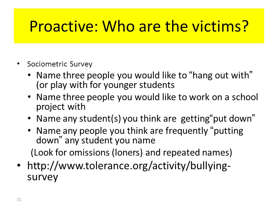 Proactive: Who are the victims