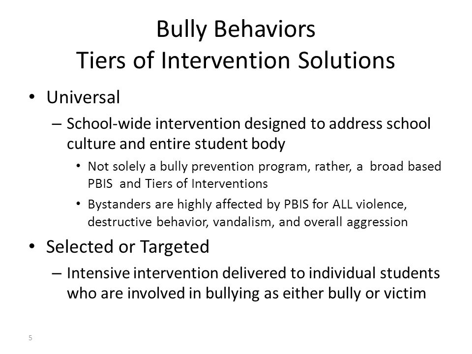 Bully Behaviors Tiers of Intervention Solutions