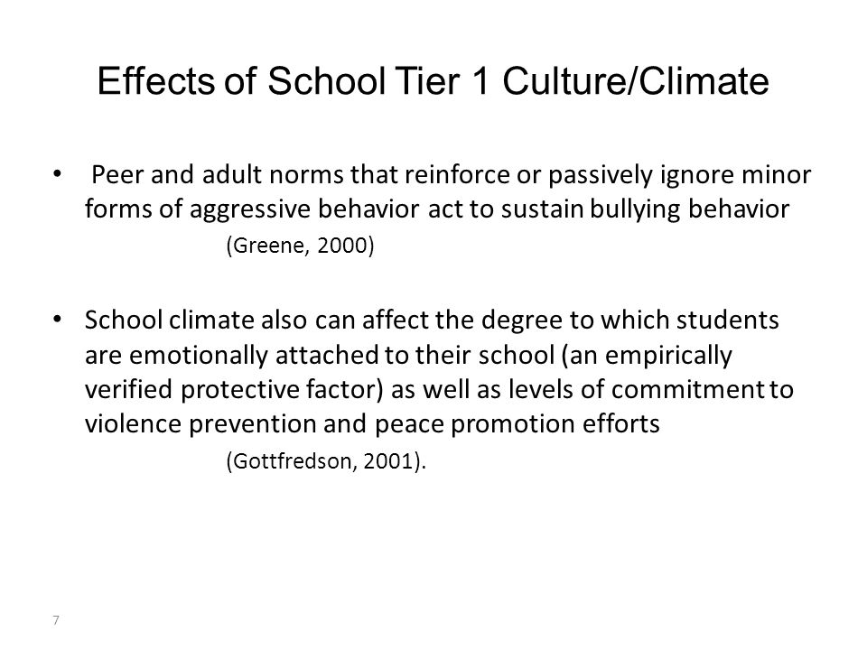 Effects of School Tier 1 Culture/Climate