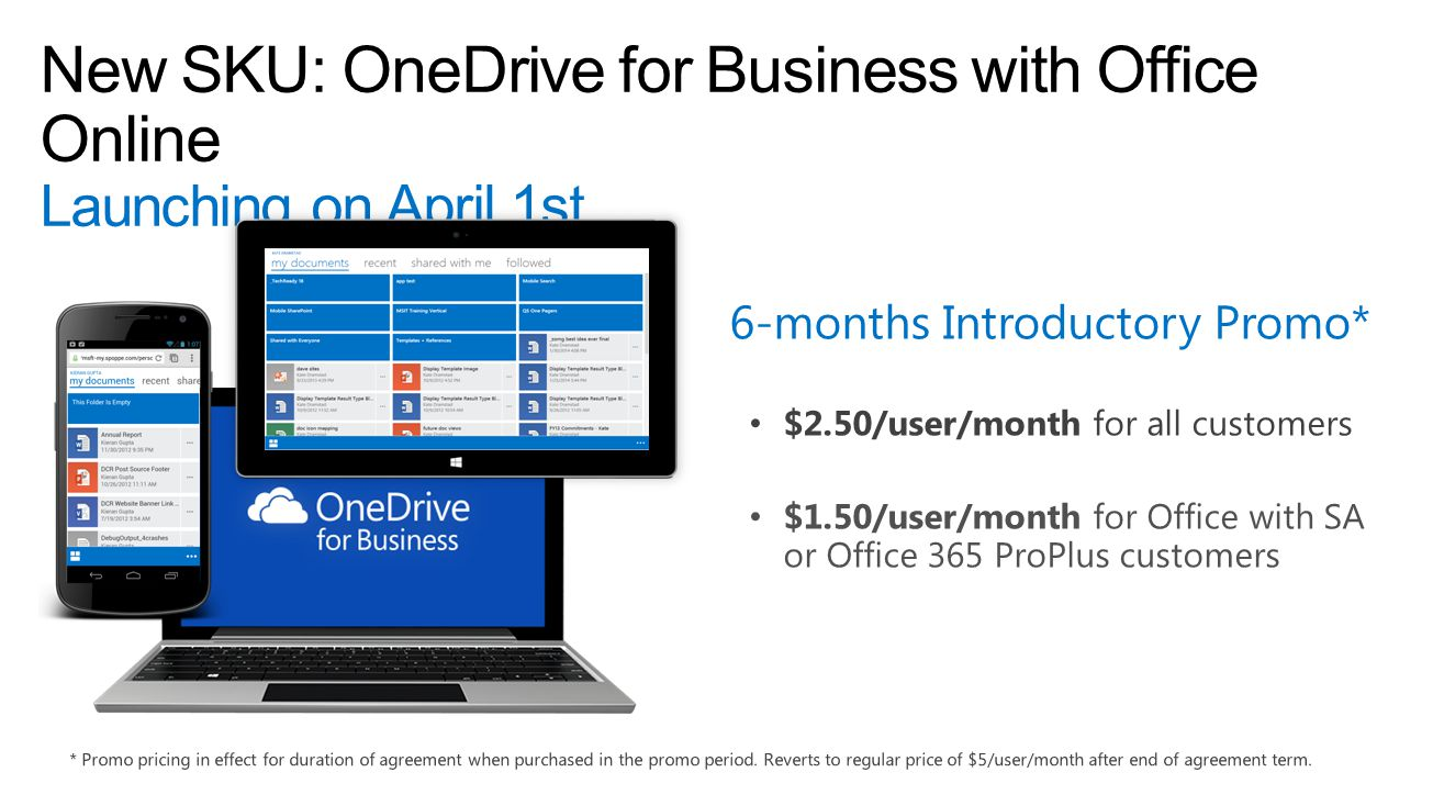 4/11/2017 6:19 PM New SKU: OneDrive for Business with Office Online Launching on April 1st. 6-months Introductory Promo*