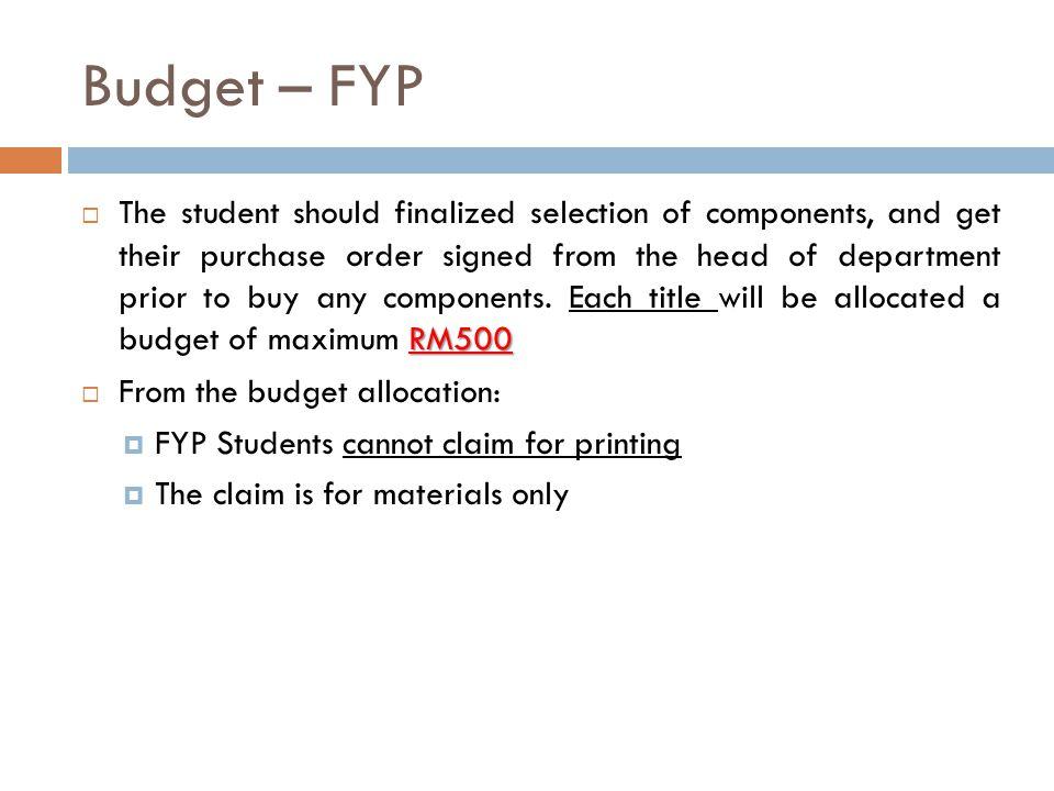 Budget – FYP