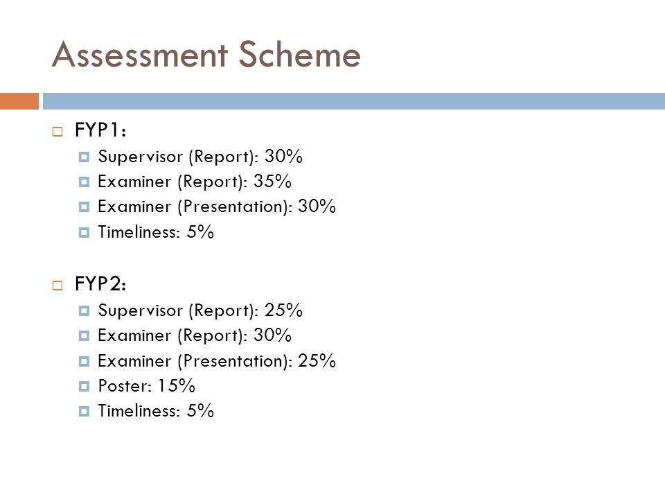 Assessment Scheme FYP1: FYP2: Supervisor (Report): 30%