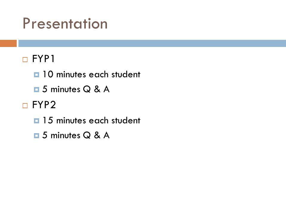 Presentation FYP1 FYP2 10 minutes each student 5 minutes Q & A