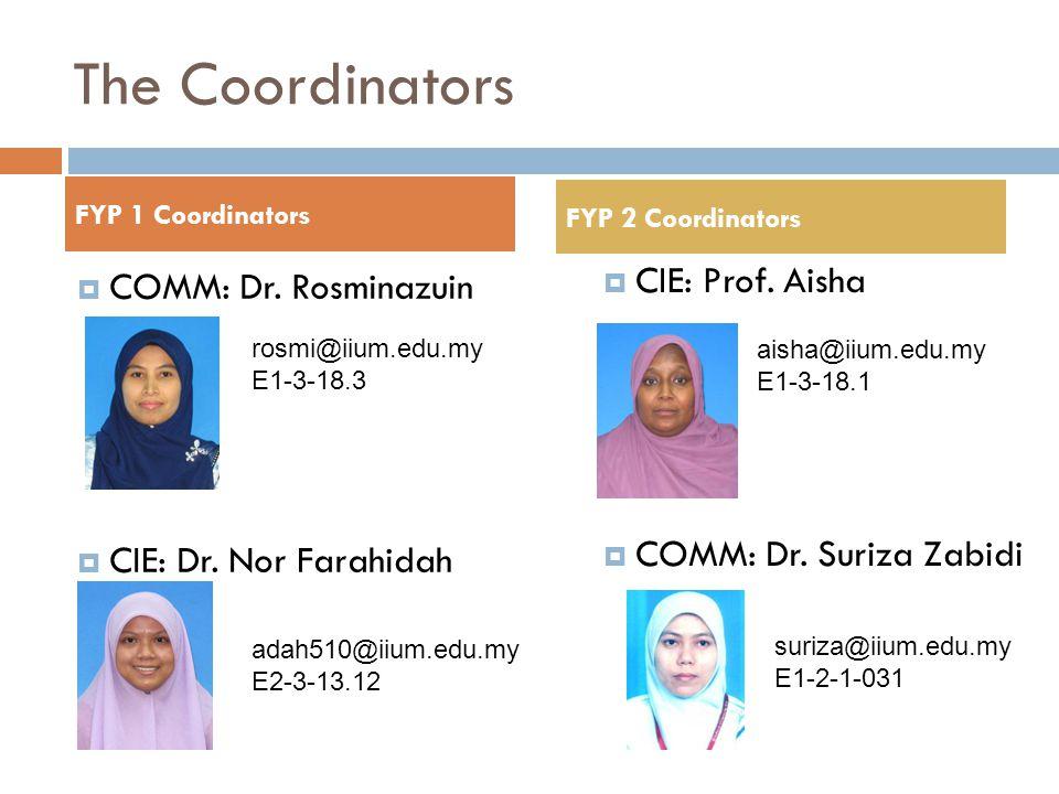 The Coordinators CIE: Prof. Aisha COMM: Dr. Rosminazuin