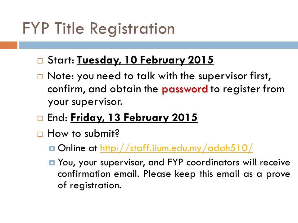 FYP Title Registration