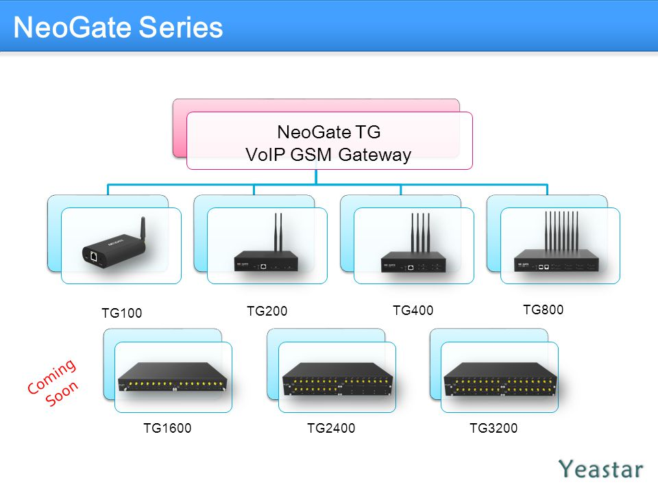 NeoGate Series NeoGate TG VoIP GSM Gateway Coming Soon TG100 TG200