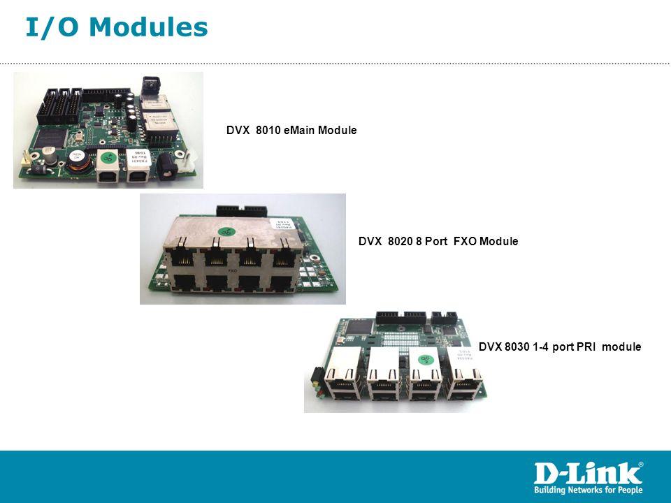 I/O Modules DVX 8010 eMain Module DVX 8020 8 Port FXO Module