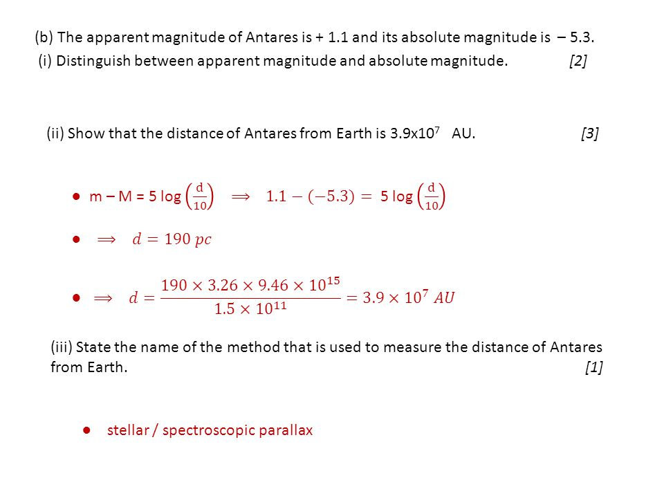 (b) The apparent magnitude of Antares is + 1